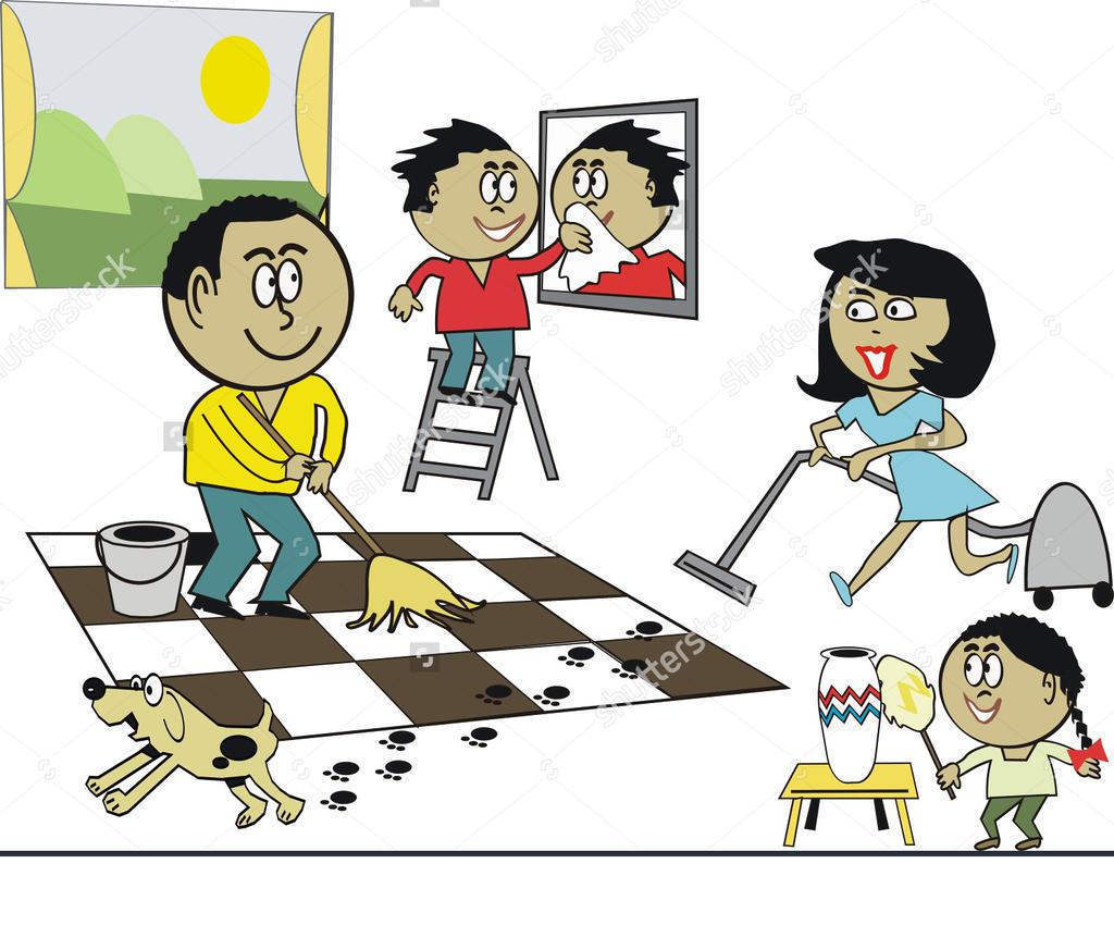 House Cleaning Clipart Of Family Retro.