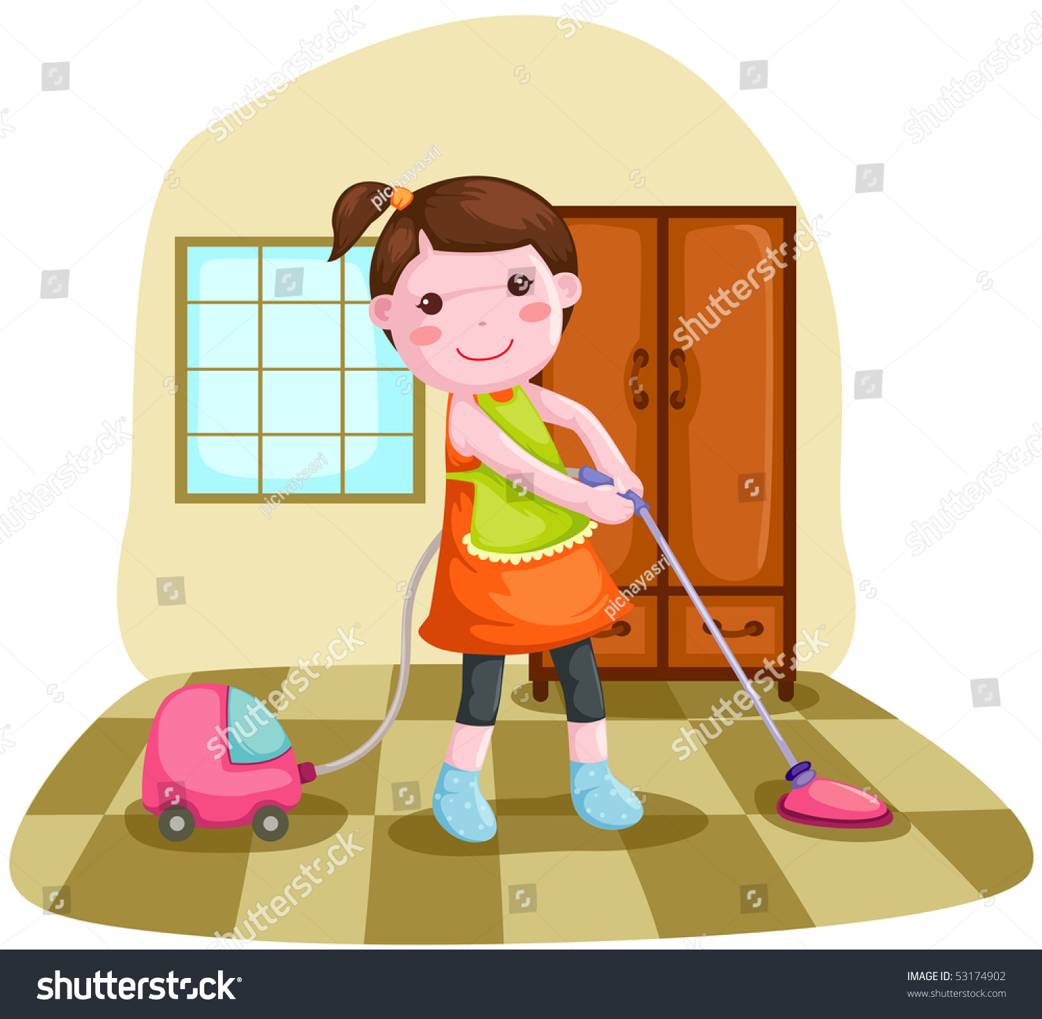 Illustration Of Woman Using Vacuum Cleaner To Clean House.