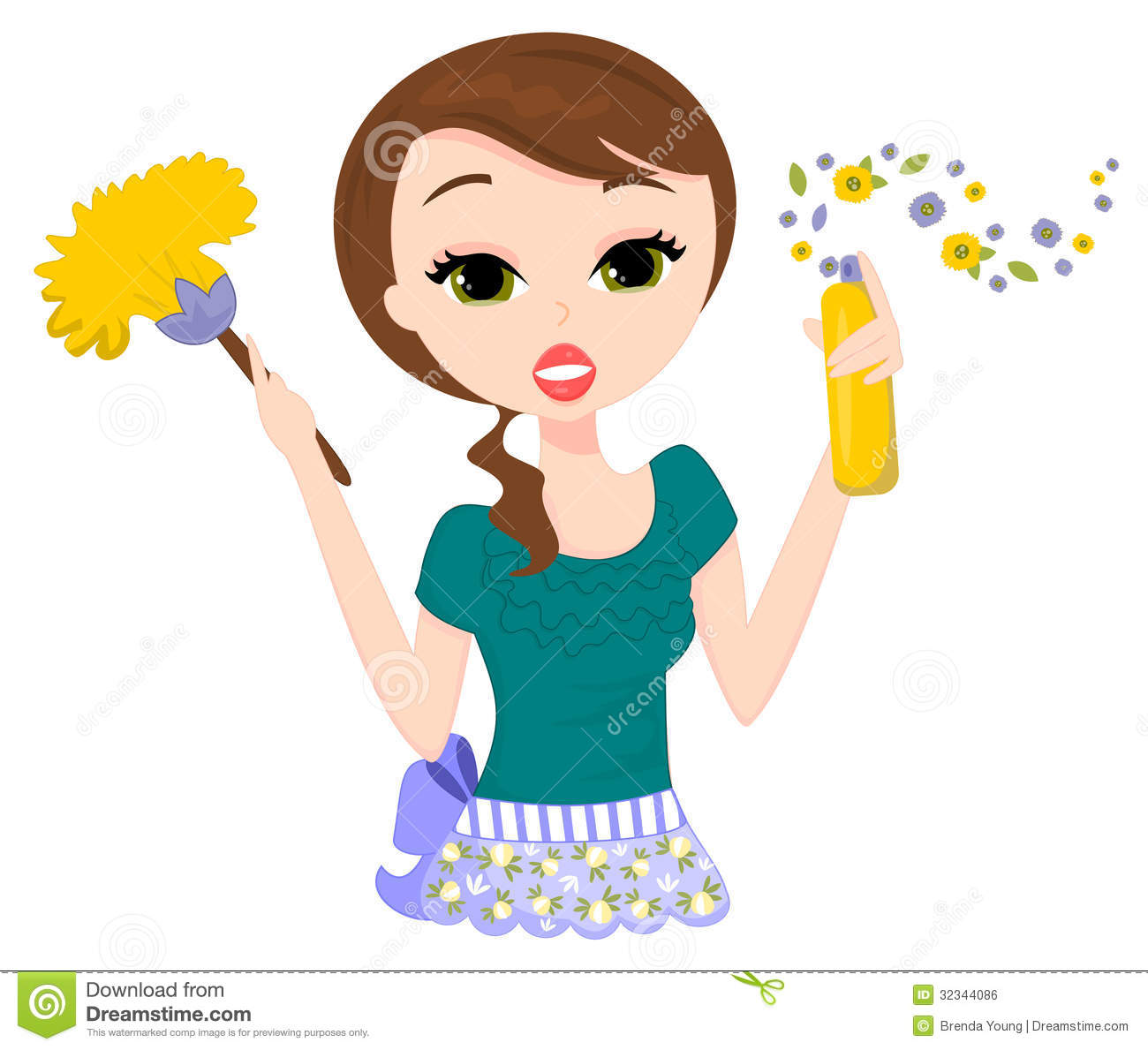 50s Cleaning Lady Clip Art.