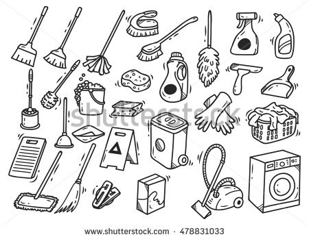 Cleaning materials clipart black and white 2 » Clipart Station.