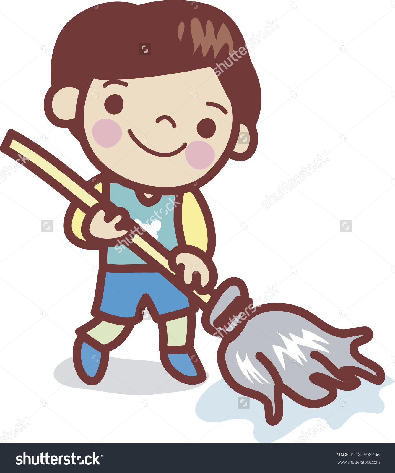 Mop Floor Cleaning Clip Art.