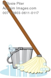 Clipart Illustration of a Soapy Mop and Bucket.