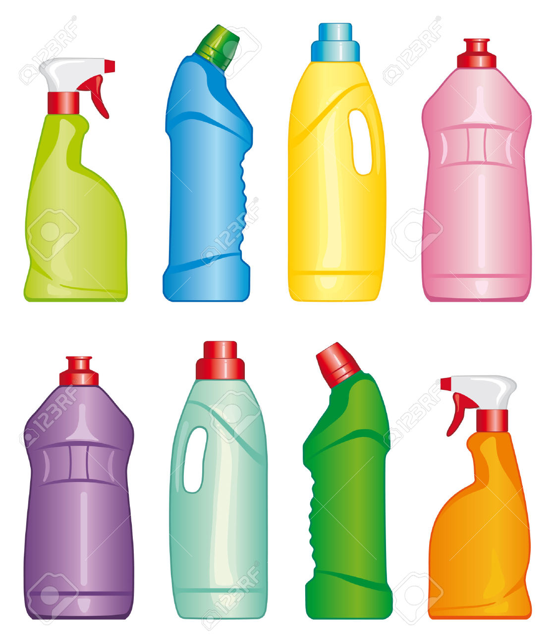Bottles Of Cleaning Products Royalty Free Cliparts, Vectors, And.