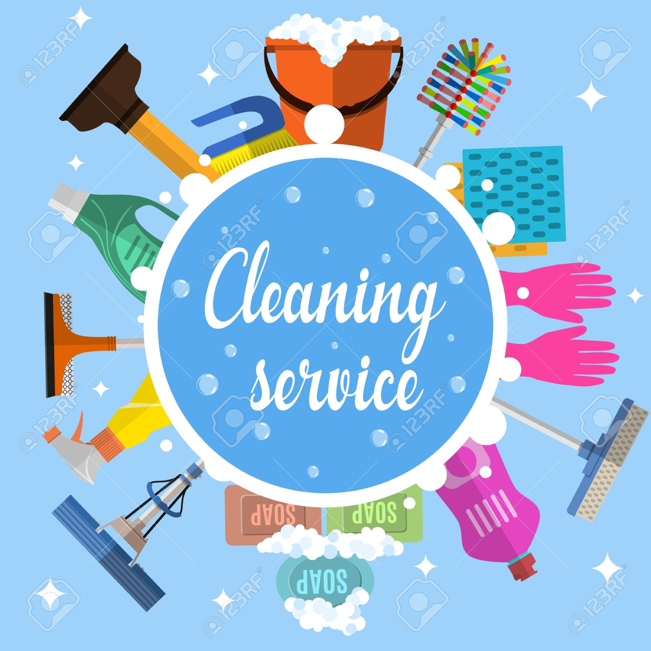 Cleaning service flat illustration » Clipart Station.