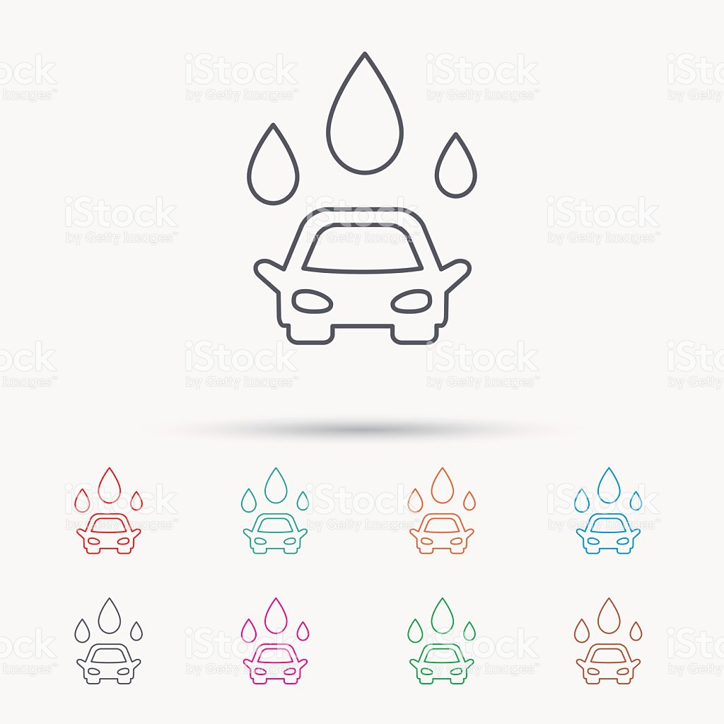 Car Wash Icon Cleaning Station With Water Drops stock vector art.