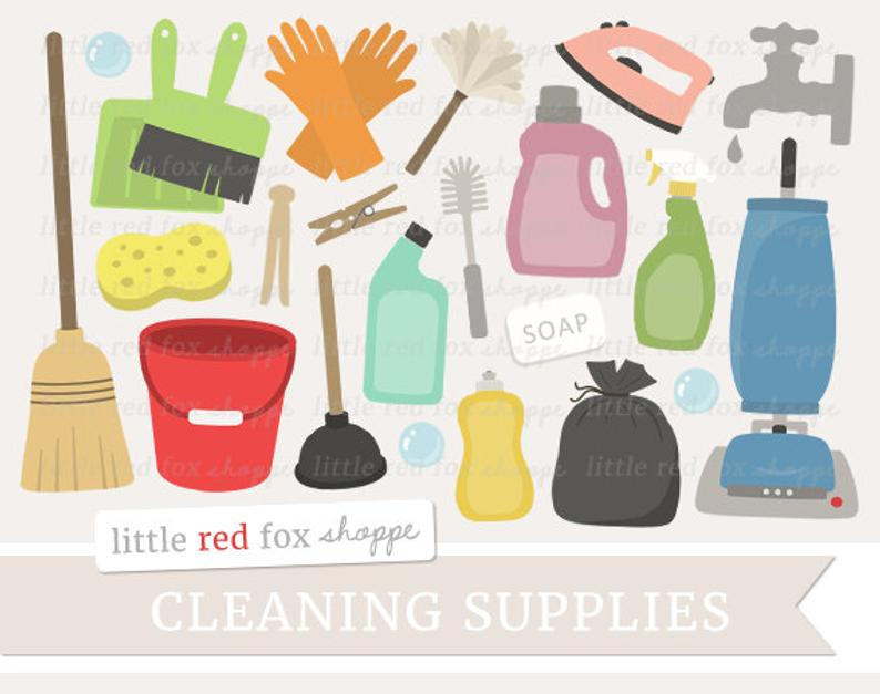 Cleaning Clipart, Cleaning Supplies Clip Art Vacuum Cleaner Laundry Soap  Broom Spray Bottle Cute Digital Graphic Design Small Commercial Use.