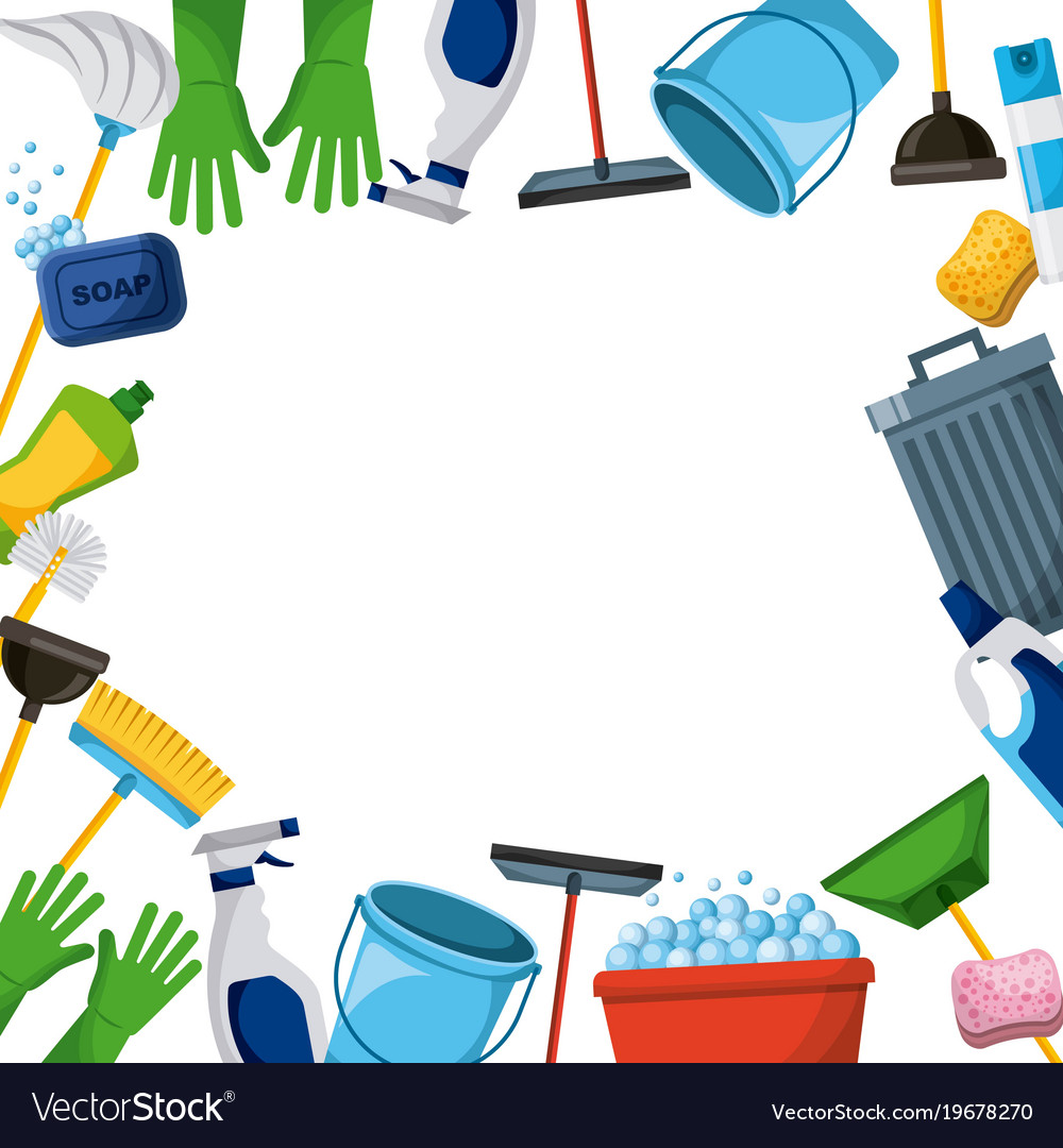 Spring cleaning supplies border tools of housecleaning background.