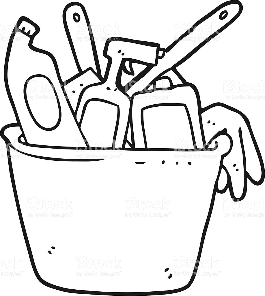 Cleaning Supplies Clipart Black And White.