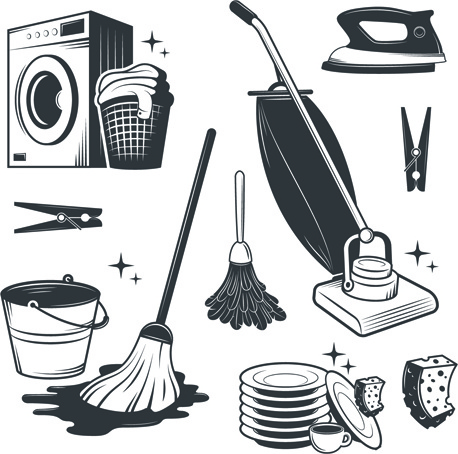 Black with white cleaning tools vector Free vector in.