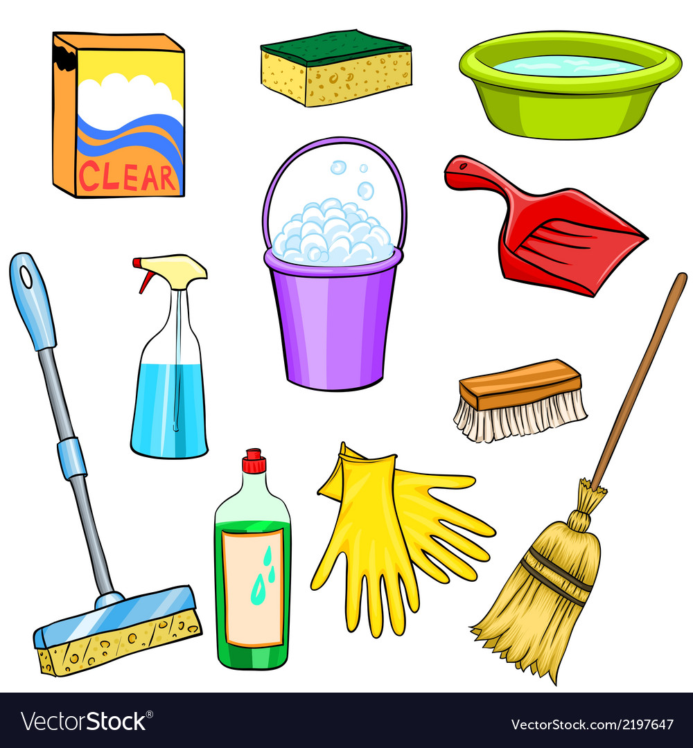 Cleaning supplies cartoon set.