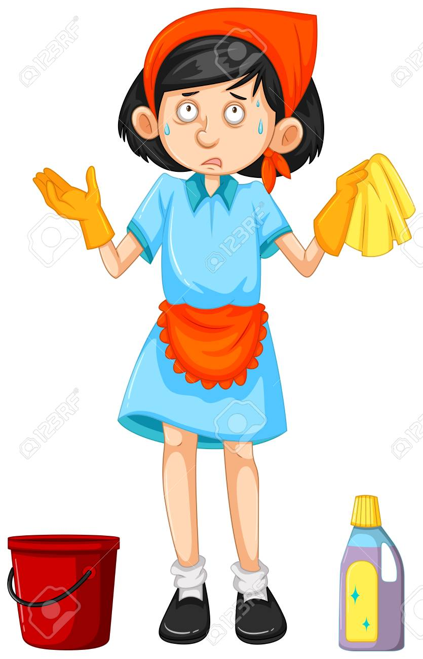 Maid with cleaning tools illustration.
