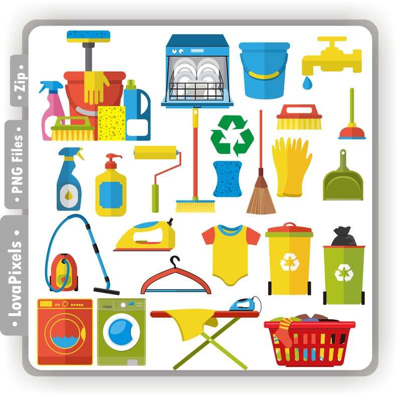 Cleaning tools clip art, instant download PNG files, digital icon planner.