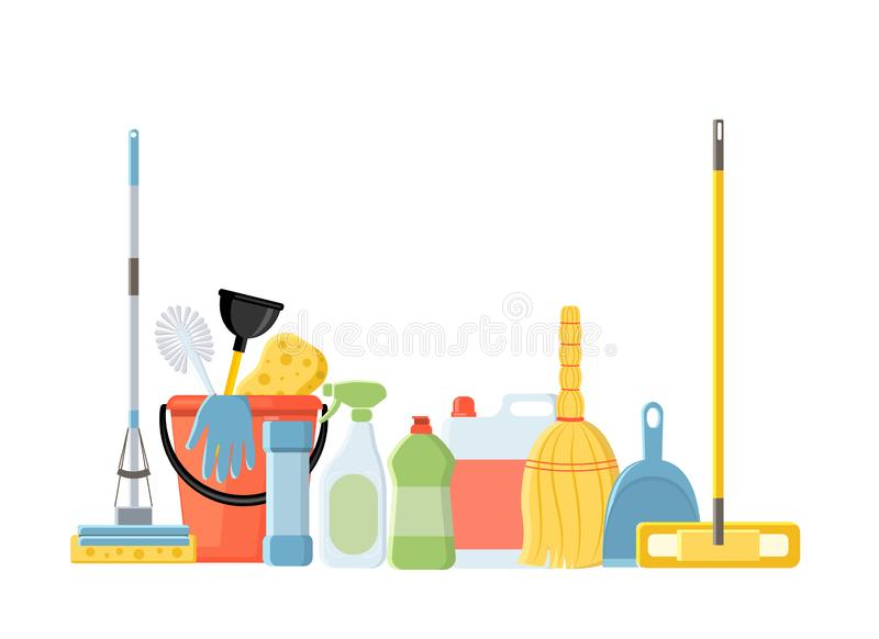 Cleaning Tools Stock Illustrations.
