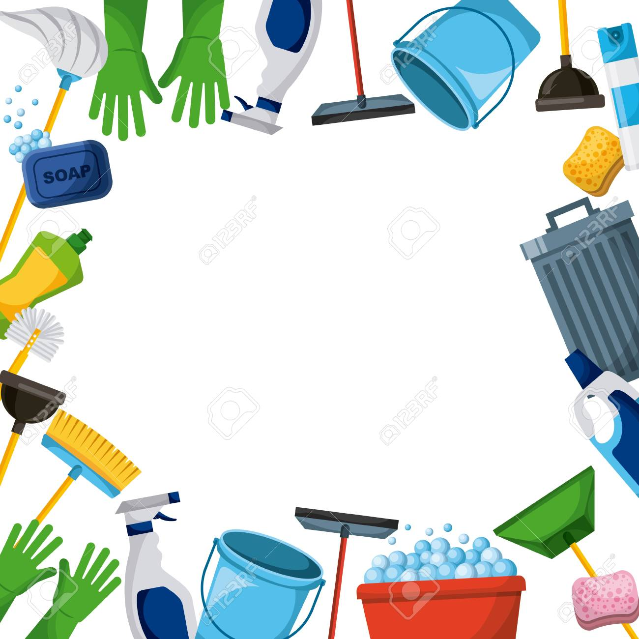 spring cleaning supplies border tools of housecleaning background...
