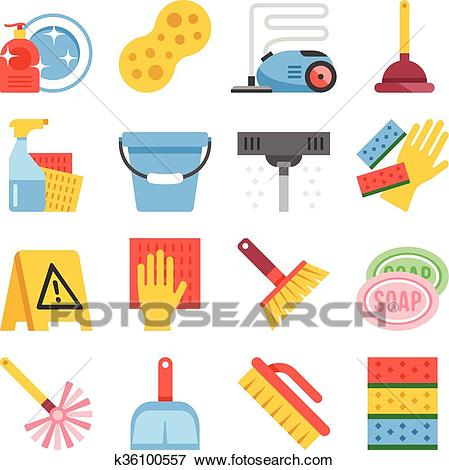 Cleaning tools equipment icons set Clip Art.