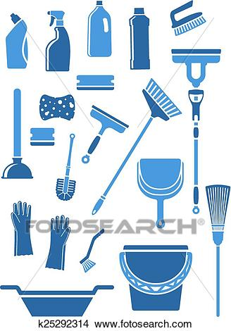 Domestic cleaning tools and supplies Clipart.