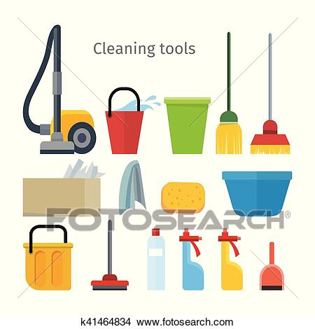 Cleaning Tools Isolated. House Washing Equipment. Clipart.