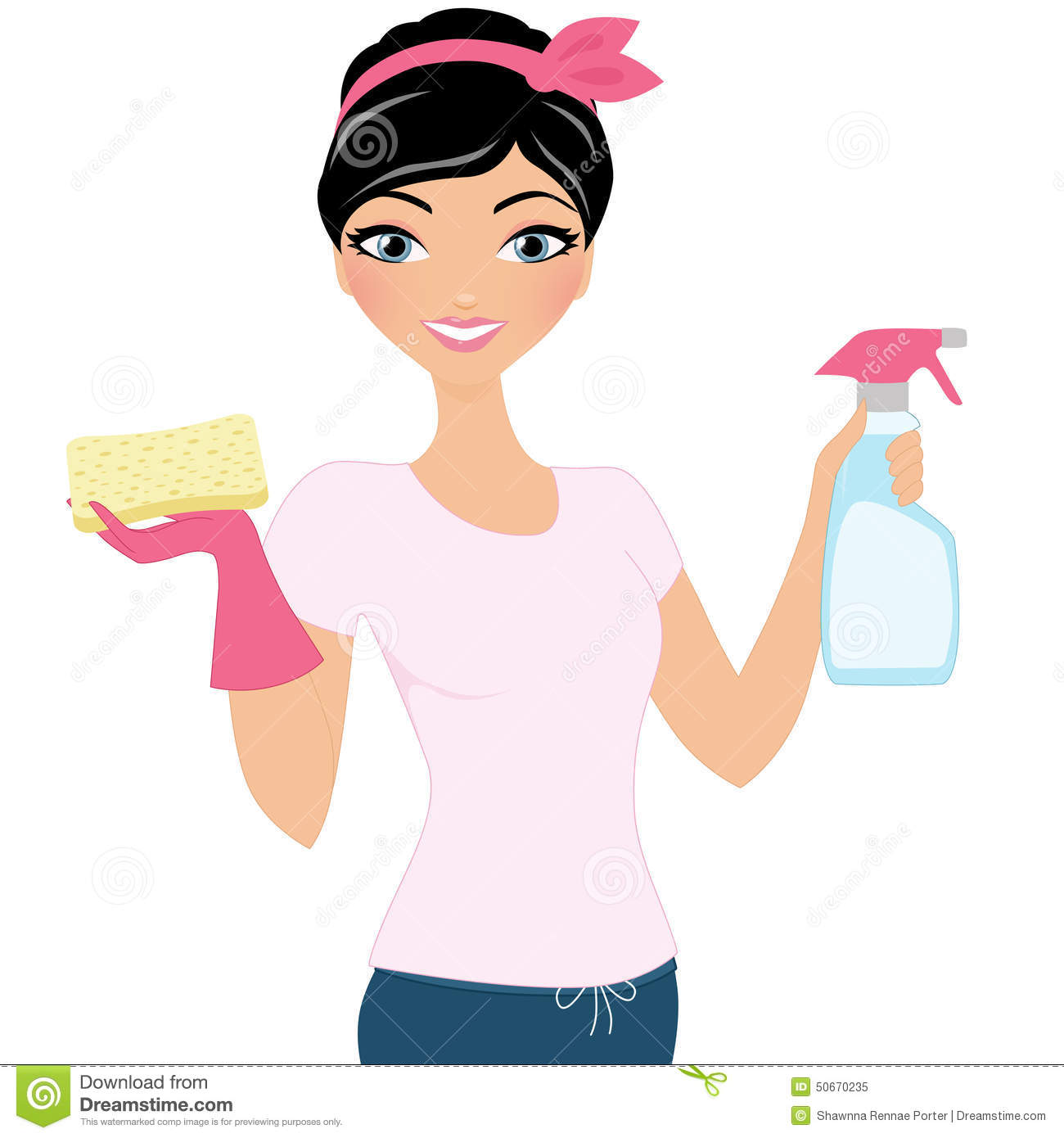 Clipart Of Woman Cleaning Free.