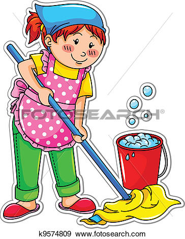 Clip Art of Cartoon Home Miscellaneous Mop k8958298.