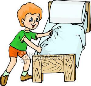 Boy cleans room clipart.