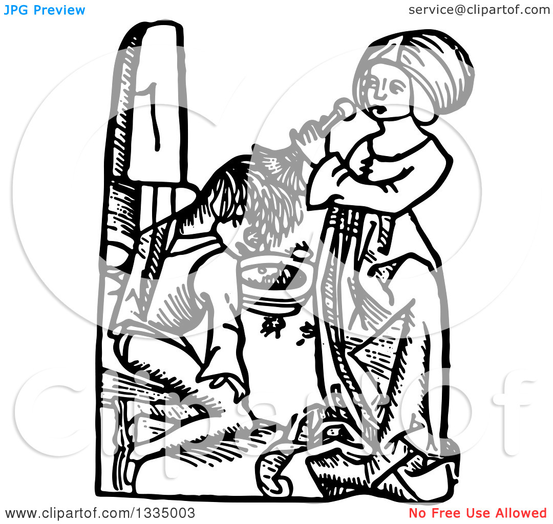Clipart of a Black and White Woodcut Medieval Woman Cleansing a.