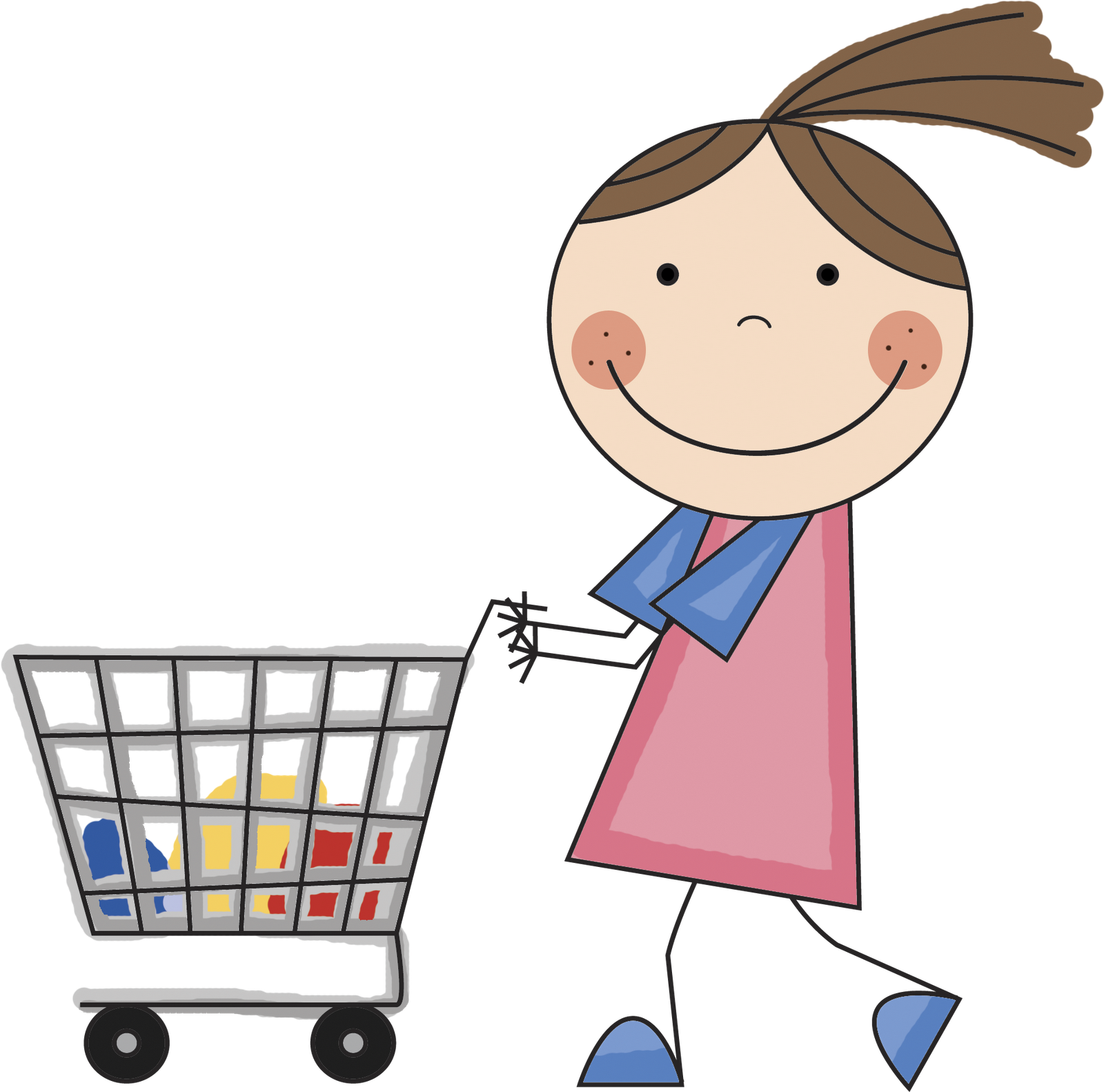 Girl shopping clipart clear background.