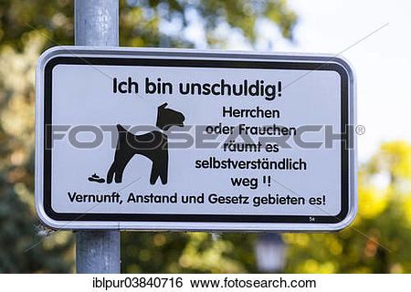 """Stock Images of """"Sign, in German, encouraging dog owners to clear."""