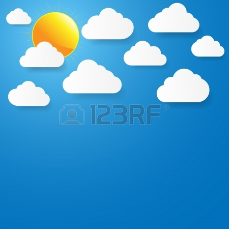 Blue Sky With Paper Clouds And Sun Royalty Free Cliparts, Vectors.