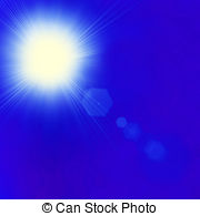 Shining sun at clear blue sky with copy space Clipart and Stock.