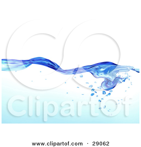 Clipart Illustration of Flowing Clear Blue Purified Blue Water.