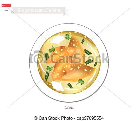 Clipart Vector of Laksa or Singaporean Rice Noodle with Dumpling.