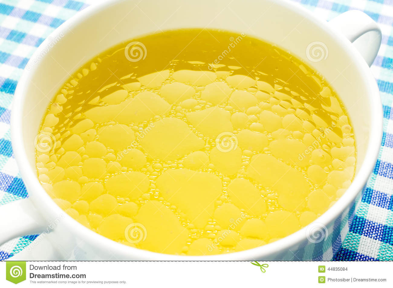 Fat Oily Broth, Bouillon, Clear Soup Stock Photo.