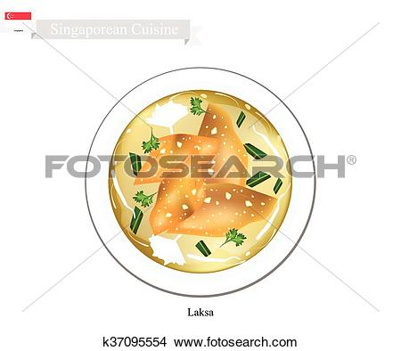 Clipart of Laksa or Singaporean Rice Noodle with Dumpling in Clear.
