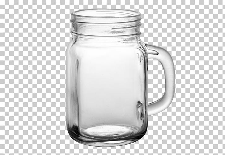 Mason jar Mug Lid Glass, Jar Transparent , clear glass mason.