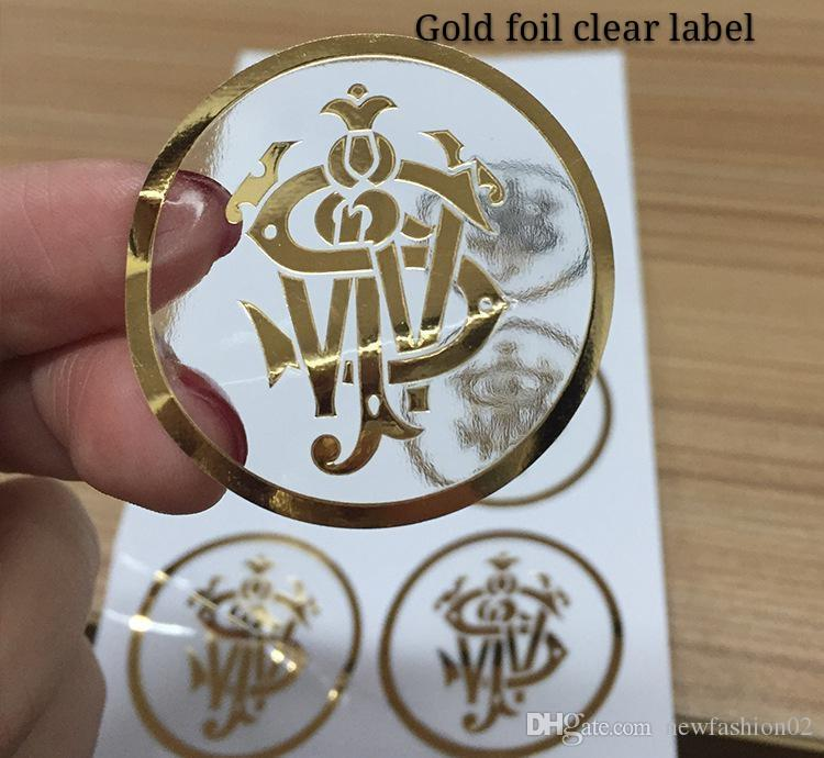 Custom gold foil logo label on transparent sticker new round clear  trademark label sticker in gold stamping with high quality.