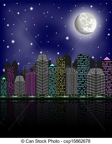 Vectors Illustration of Night city, clear sky and moon, vector.