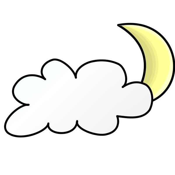 Weather Symbols Cloudy Night Clipart, vector clip art online.