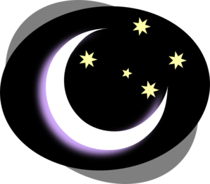 Night clipart with moon.