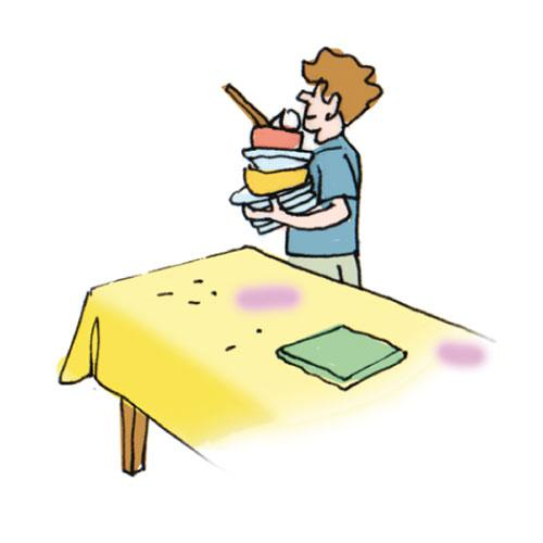 Showing post & media for Cartoon boy clearing the table.
