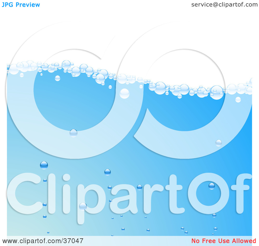 Clipart Illustration of Clear Bubbles Floating To The Surface Of.