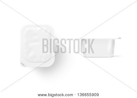 Blank white meal box mock up stand isolated 3d illustration. Sause.