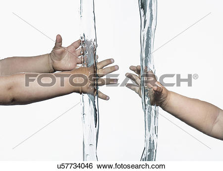 Stock Images of Composite view of toddlers arms and hands reaching.