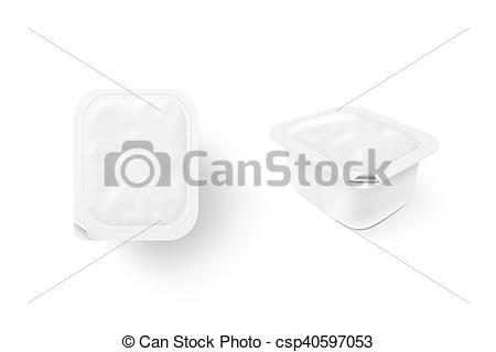 Stock Illustrations of Blank white sauce box mock up stand.
