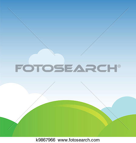 Clip Art of bright green meadows and clear sky in summer k8378662.