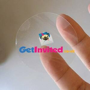 Details about PERSONALISED CLEAR TRANSPARENT ROUND CIRCLE CUSTOM LOGO  STICKERS LABELS 37MM.