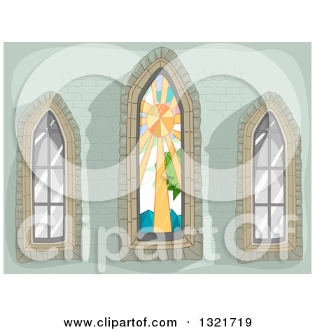 Clipart of a Green Stone Wall with Stained Glass and Clear Lancet.
