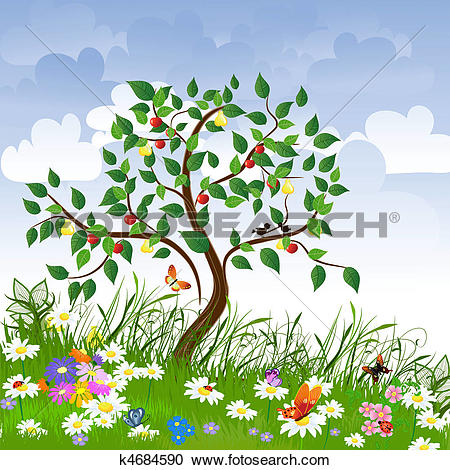 Clipart of Flower clearing with fruit trees k4684590.