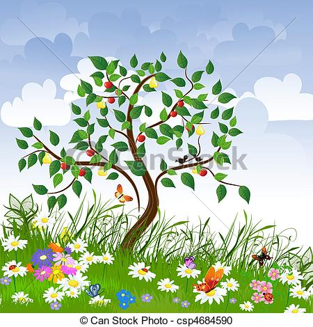 Vector Clipart of Flower clearing with fruit trees csp4684590.