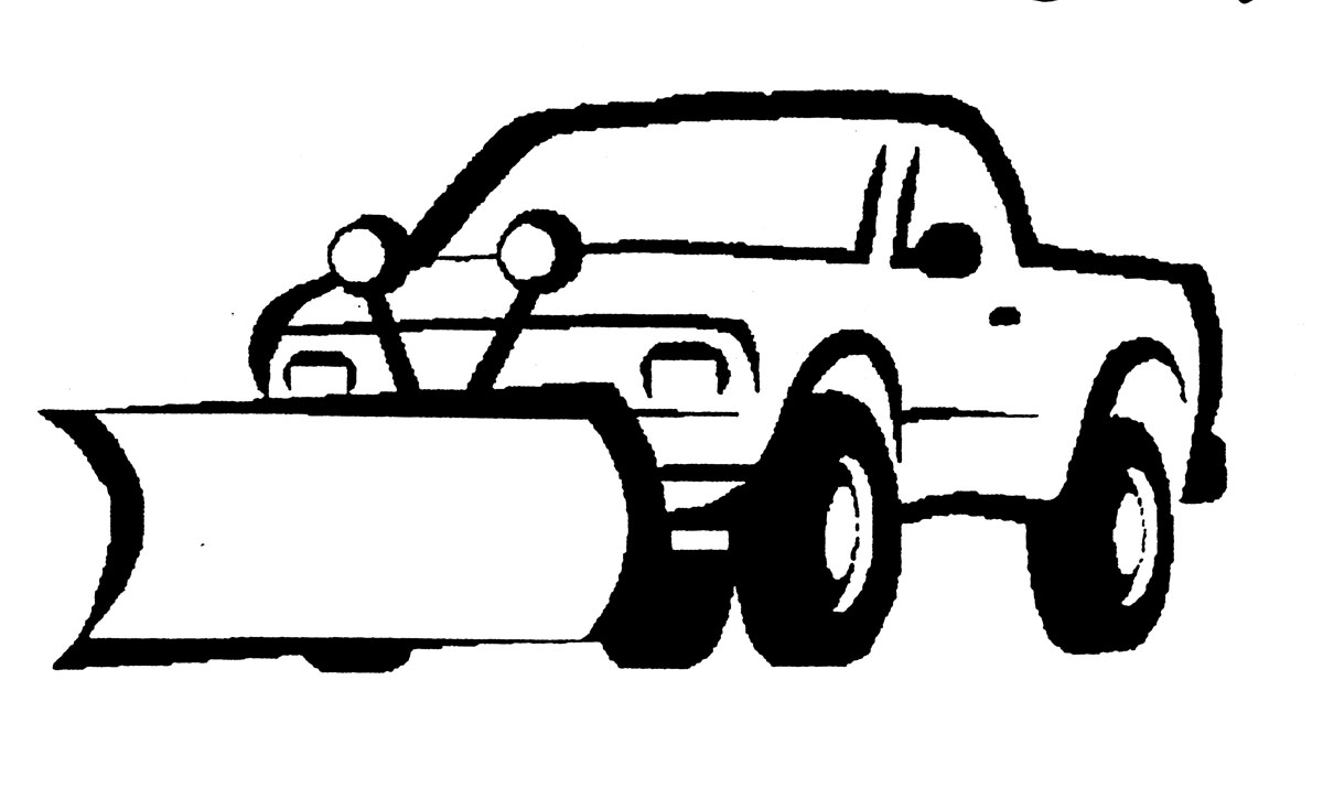 Snow Plowing With Tractor Clipart.