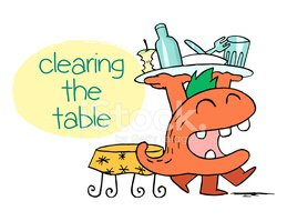 Monster Clearing The Table Stock Vector.